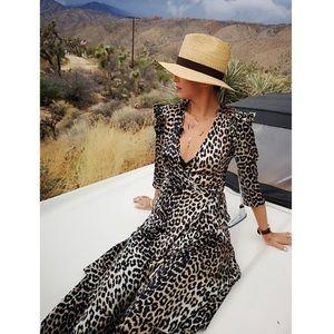 Ganni Calla Leopard Silk Midi Dress Brown